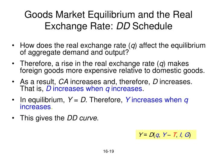 Goods Market Equilibrium and the Real Exchange Rate: