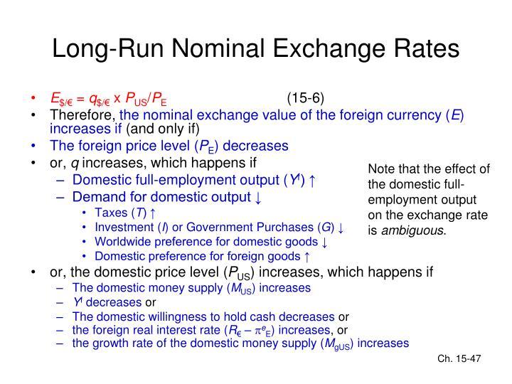 Long-Run Nominal Exchange Rates