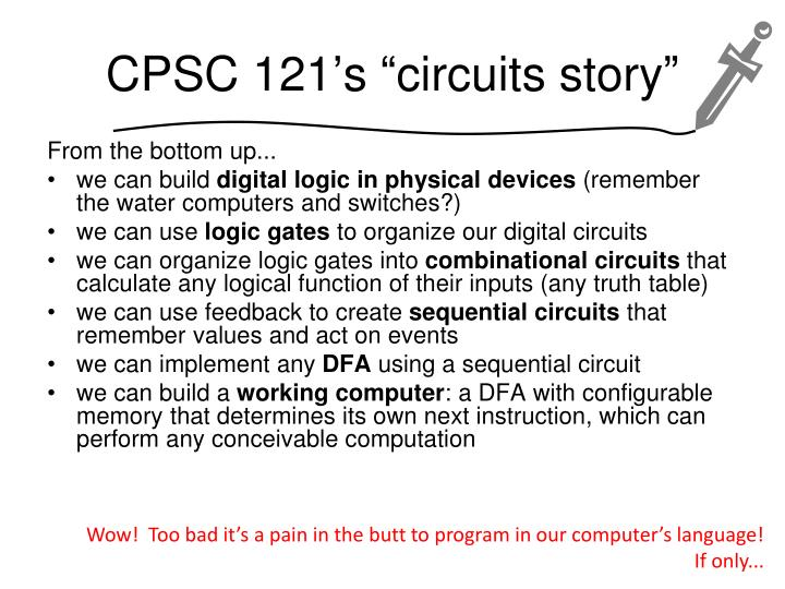 """CPSC 121's """"circuits story"""""""