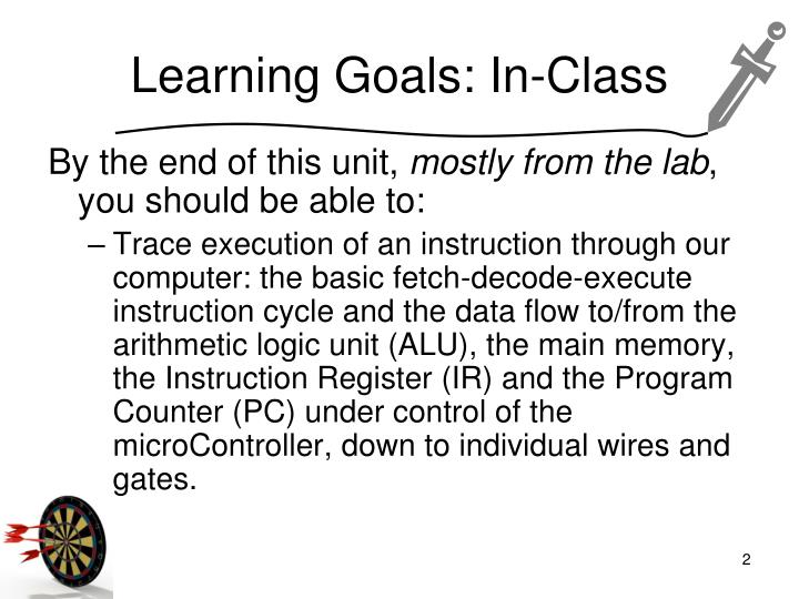Learning goals in class