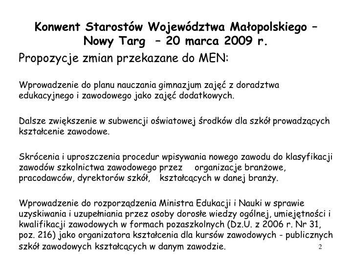 Konwent starost w wojew dztwa ma opolskiego nowy targ 20 marca 2009 r1