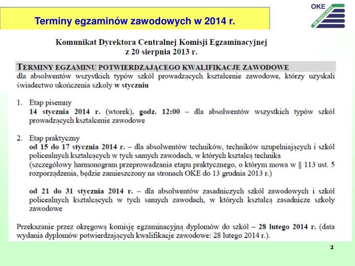 Terminy egzaminów zawodowych w 2014 r.