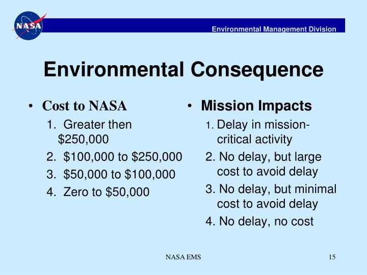 Cost to NASA