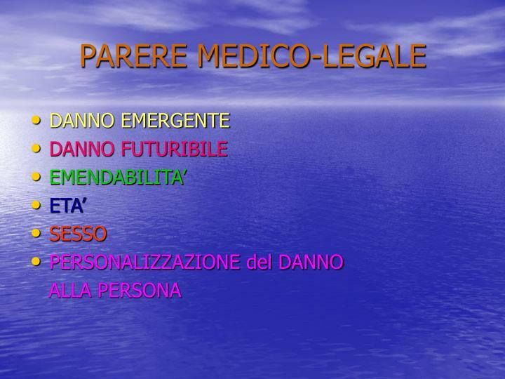 PARERE MEDICO-LEGALE