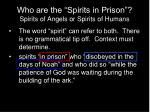 who are the spirits in prison spirits of angels or spirits of humans
