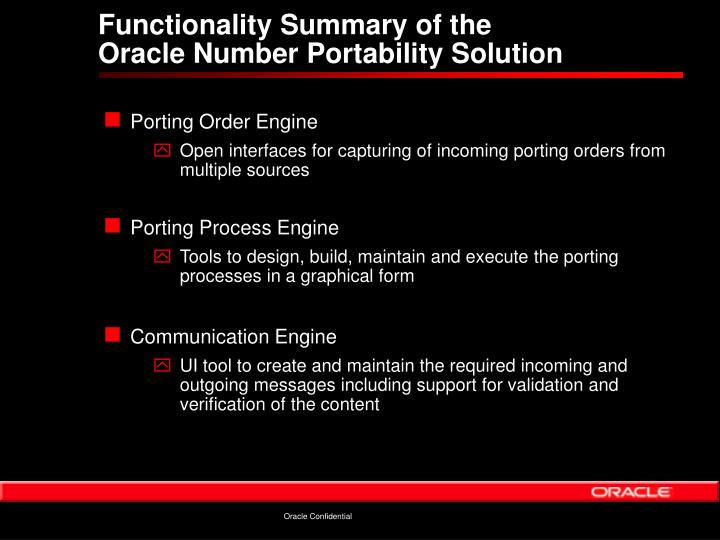 Functionality Summary of the