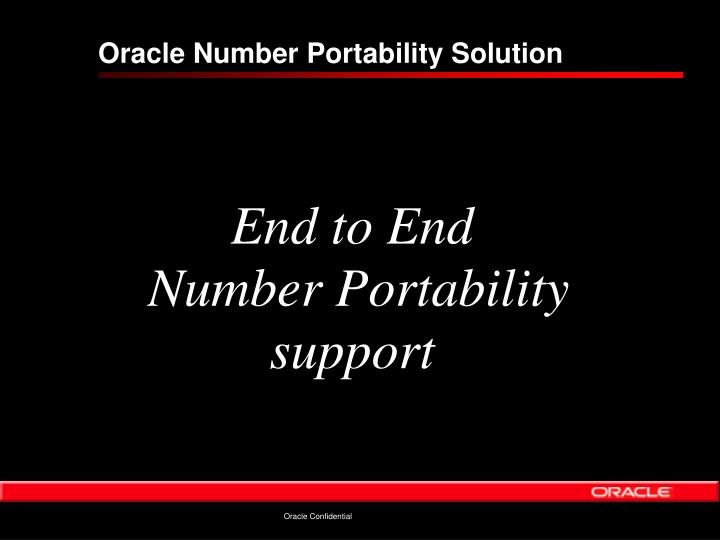 Oracle Number Portability Solution