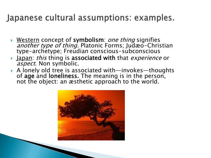 Japanese cultural assumptions: examples.