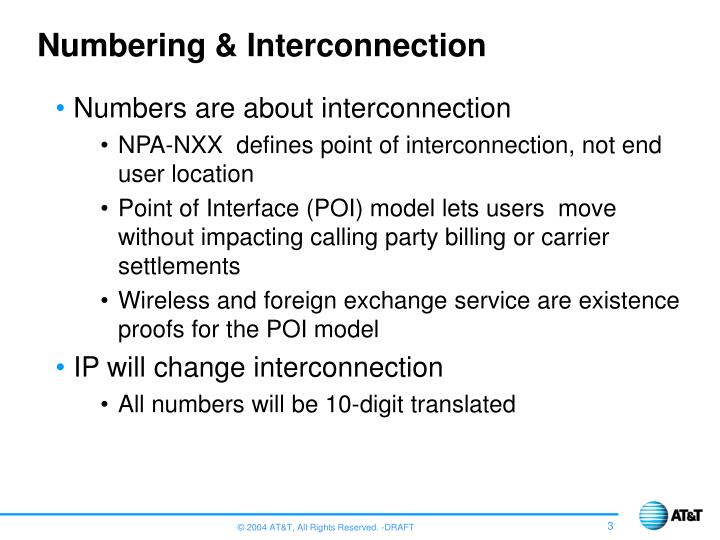 Numbering interconnection