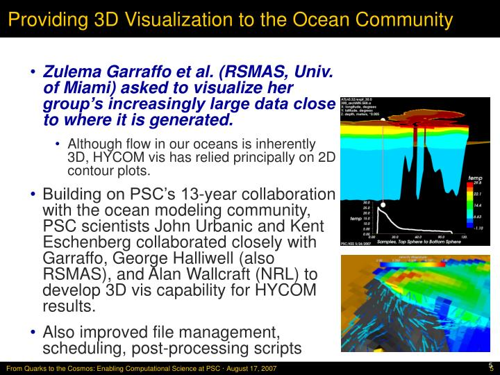 Providing 3D Visualization to the Ocean Community