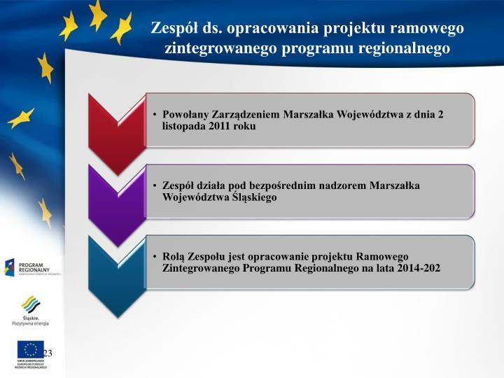 Zespół ds. opracowania projektu ramowego zintegrowanego programu regionalnego
