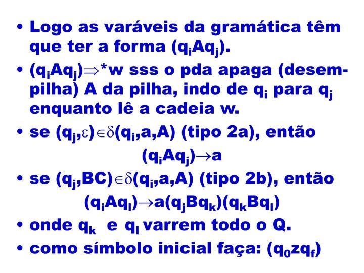 Logo as varáveis da gramática têm que ter a forma (q