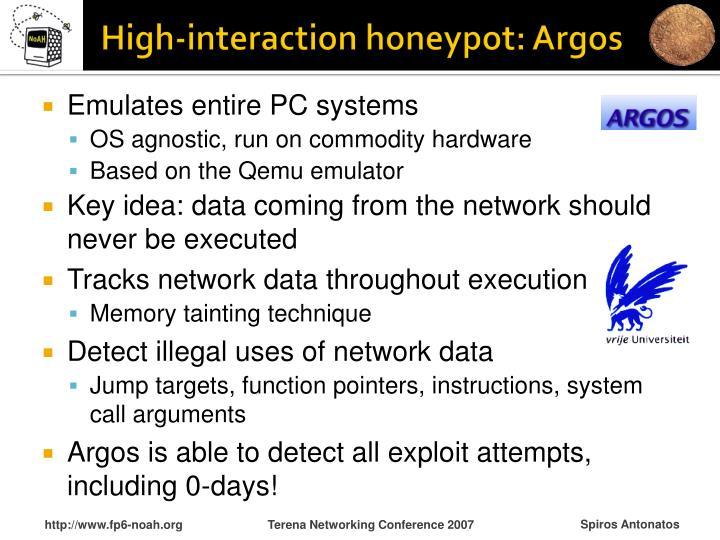 High-interaction honeypot: Argos
