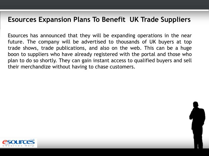 Esources Expansion Plans To Benefit  UK Trade Suppliers
