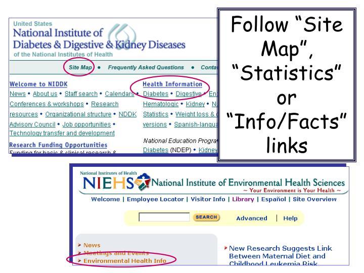 "Follow ""Site Map"", ""Statistics"""