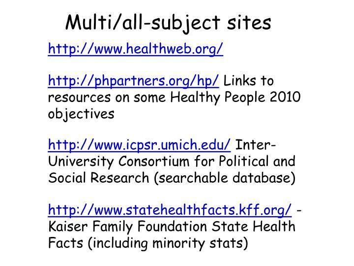 Multi/all-subject sites