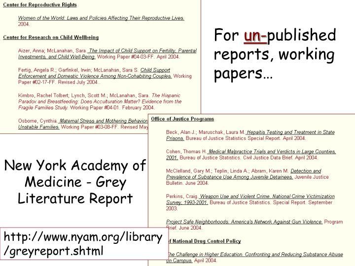 New York Academy of Medicine - Grey Literature Report