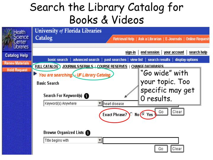 Search the Library Catalog for Books & Videos