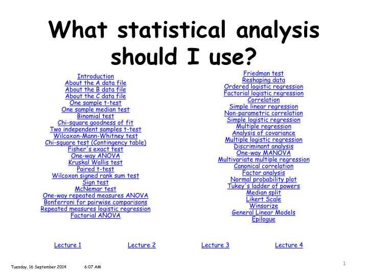 what statistical analysis should i use n.