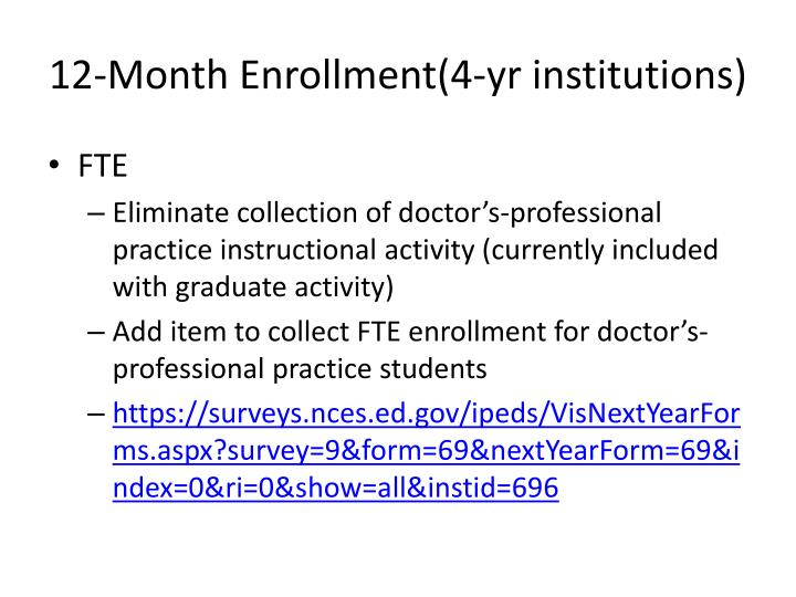 12-Month Enrollment(4-yr institutions)