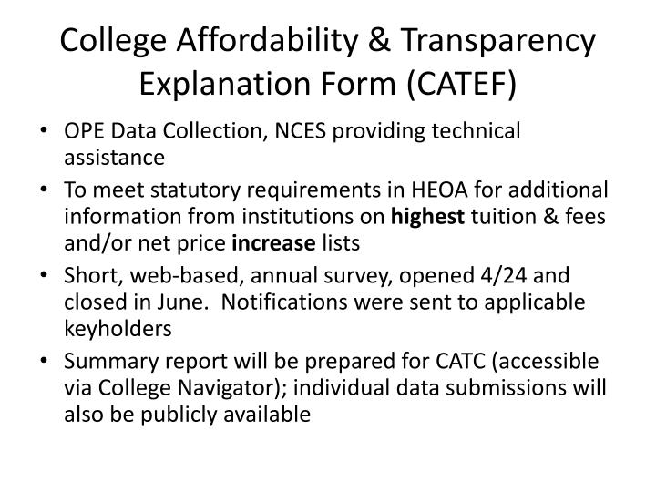 College Affordability & Transparency Explanation Form (CATEF)