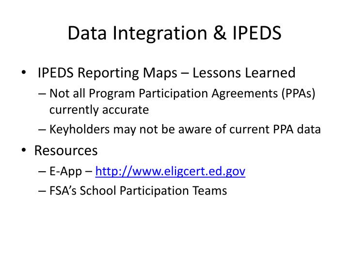 Data Integration & IPEDS