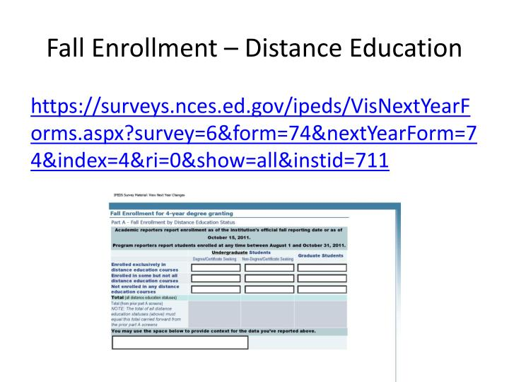 Fall Enrollment – Distance Education