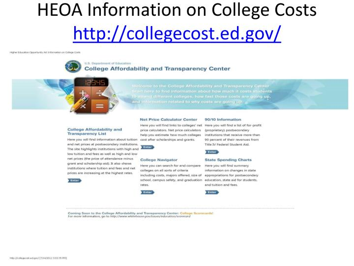 HEOA Information on College Costs