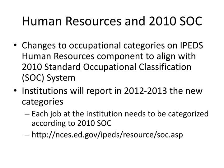 Human Resources and 2010 SOC