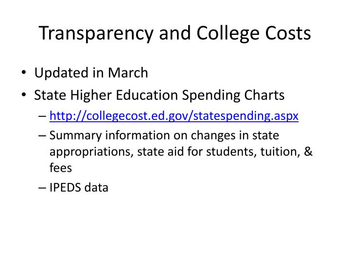 Transparency and College Costs