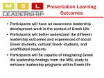 presentation learning outcomes