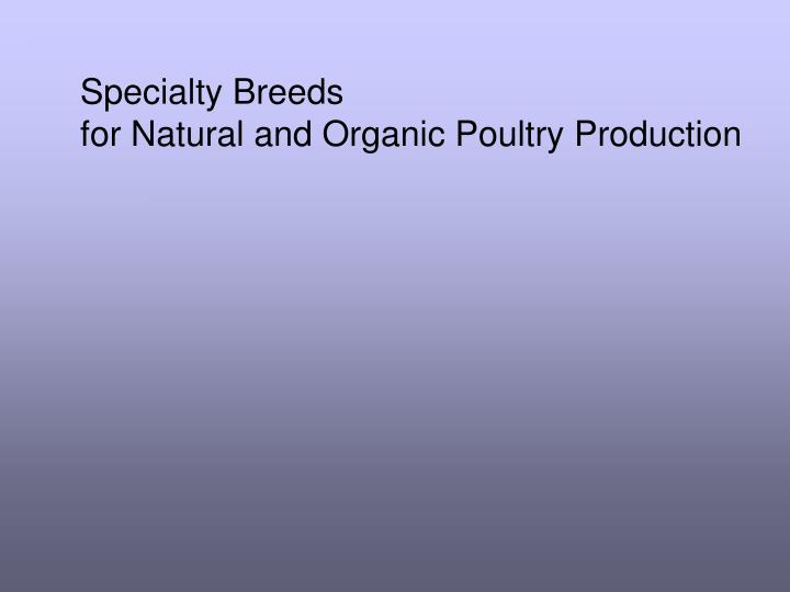 PPT - Specialty Breeds for Natural and Organic Poultry