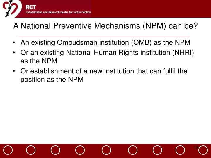 A National Preventive Mechanisms (NPM) can be?