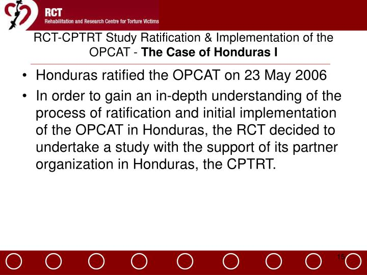 RCT-CPTRT Study Ratification & Implementation of the OPCAT -