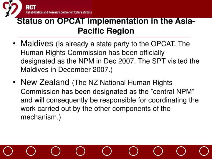 Status on OPCAT implementation in the Asia-Pacific Region