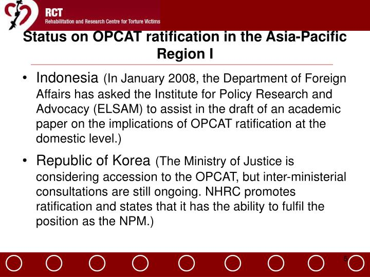 Status on OPCAT ratification in the Asia-Pacific Region I