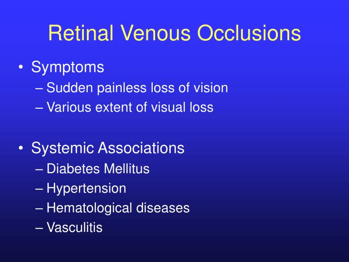 Retinal Venous Occlusions