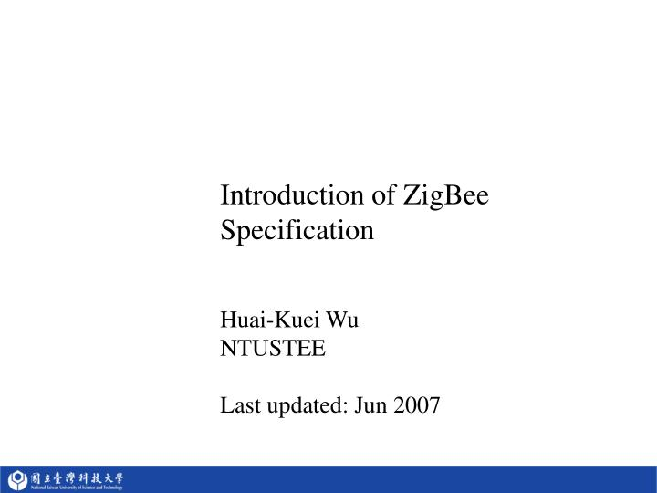 introduction of zigbee specification n.