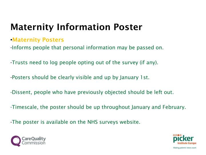 Maternity Information Poster