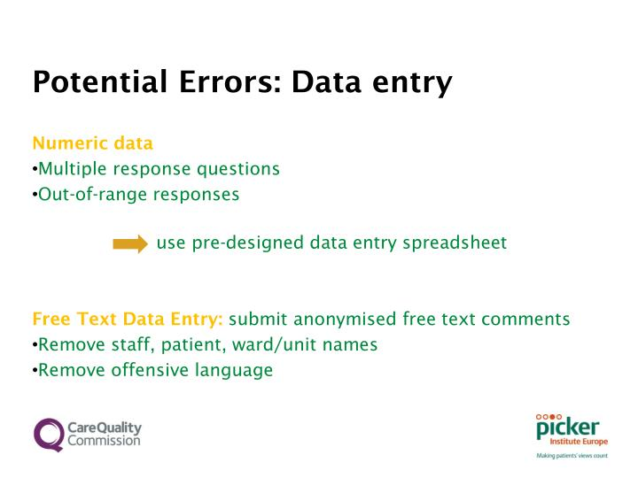 Potential Errors: Data entry