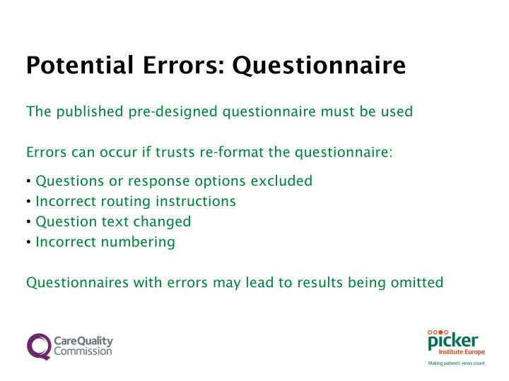 Potential Errors: Questionnaire