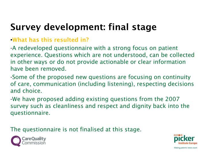 Survey development: final stage