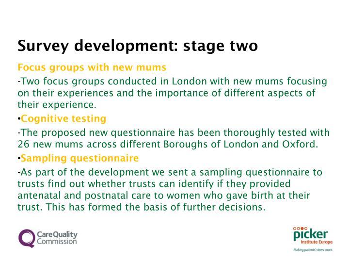 Survey development stage two