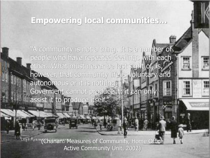 Empowering local communities…