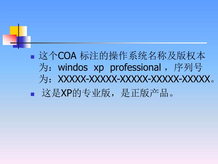 这个COA 标注的操作系统名称及版权本为:windos  xp  professional ,序列号为:XXXXX-XXXXX-XXXXX-XXXXX-XXXXX。