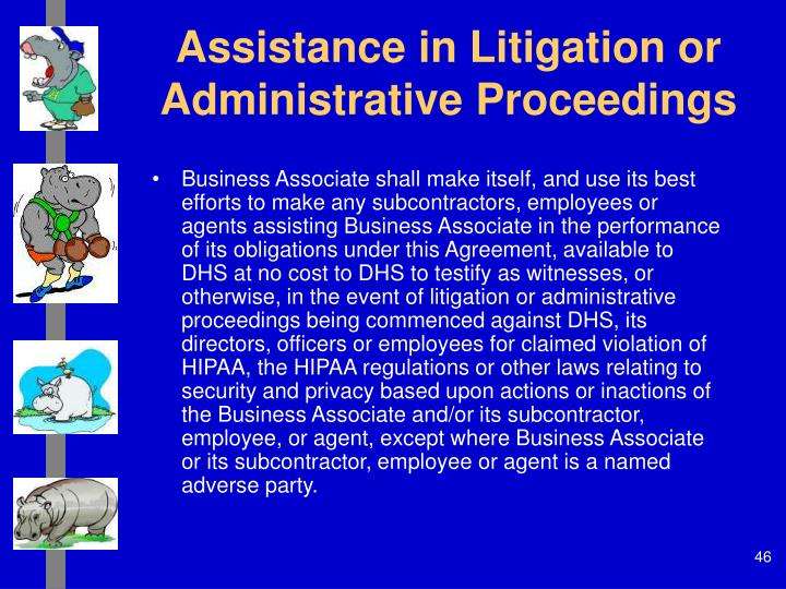 Assistance in Litigation or Administrative Proceedings