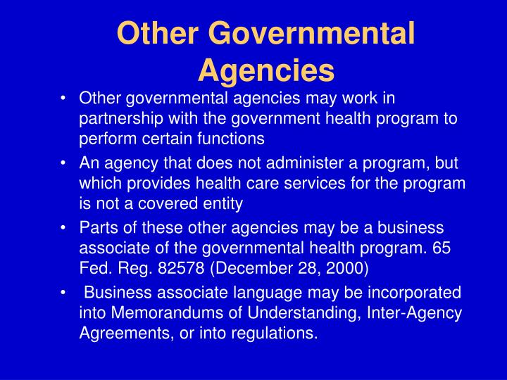Other Governmental Agencies