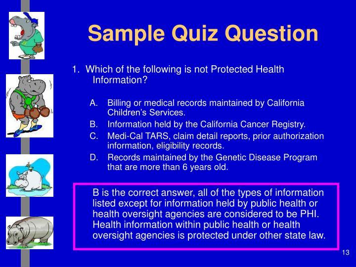 Sample Quiz Question
