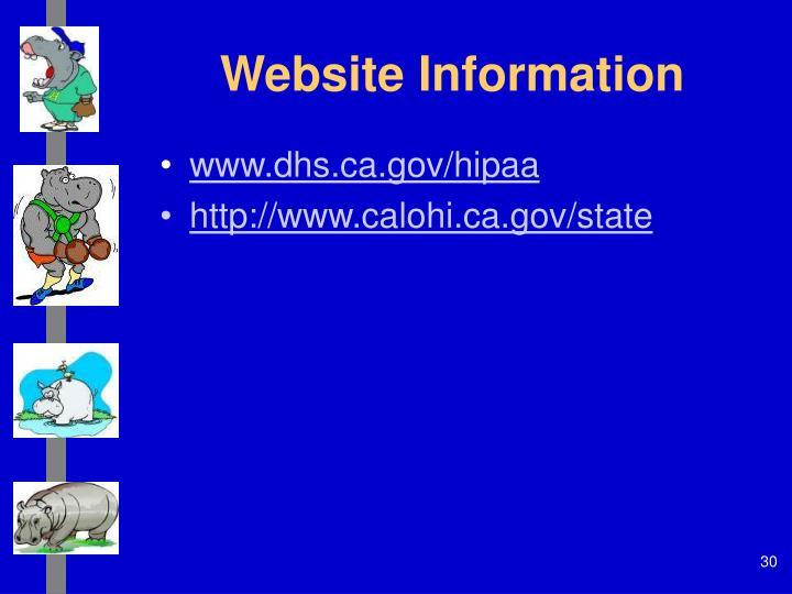 Website Information