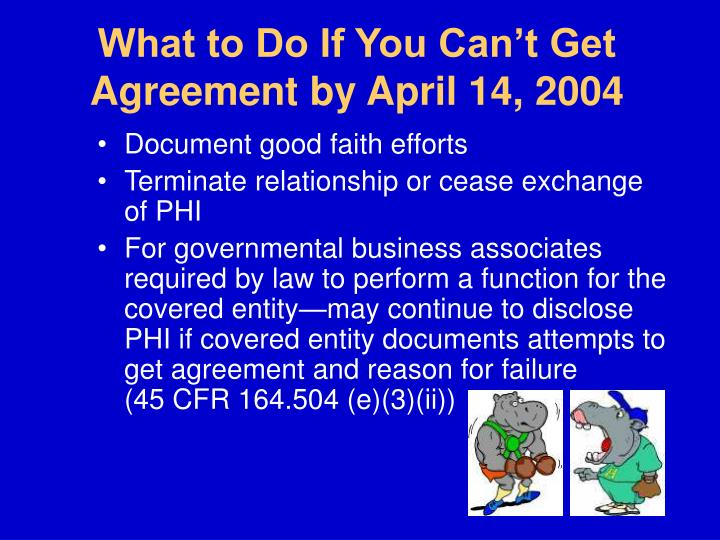 What to Do If You Can't Get Agreement by April 14, 2004